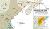Maritimes and Northeast Pipeline map