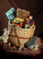 Scale basket full of toys
