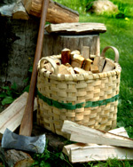 Scale basket holding kindling